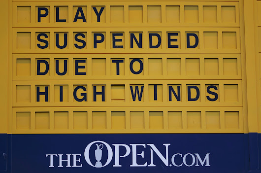 Winds force second-ever British Open Monday finish