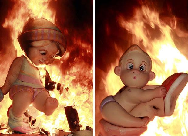 A queima dos bonecos é o clímax da festa de uma semana em homenagem a São José (Foto: AP)