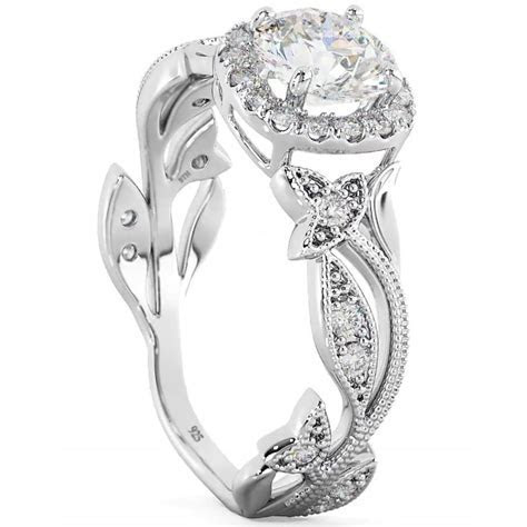 Sterling Silver CZ Ladies floral leaf engagement and