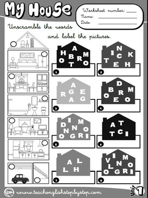 My house - Worksheet 2 (B&W version)
