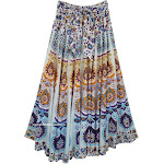 TLB Beach Inspired Floral Prints Hippie Cotton Long Skirt