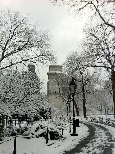 Washington Square Park, February snow