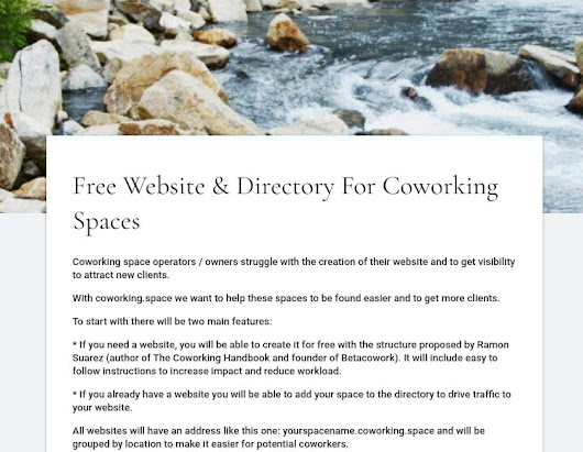 Free Website & Directory For Coworking Spaces with a Coworking.Space domain