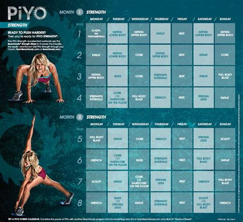 piyo strength workout calendar fitness  home workout