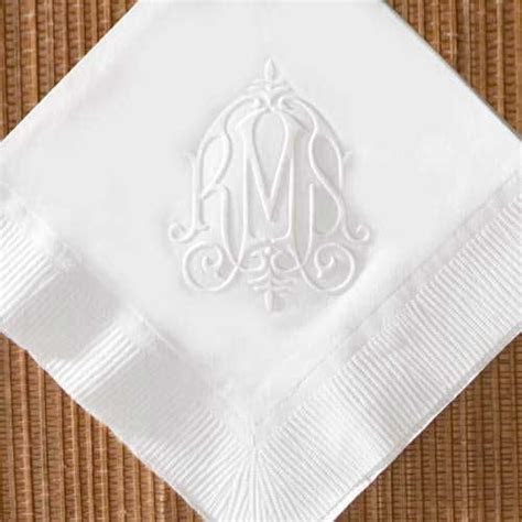 Monogram Wedding napkins   home personalized napkins