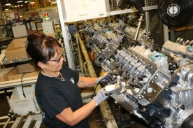 An employee at the DMAX, LTD engine plant assembles Duramax diesel engines in Moraine, Ohio on Monday, March 6, 2017.