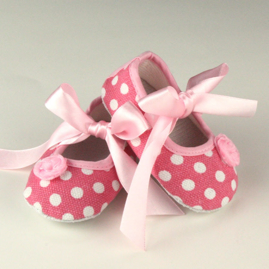 Light Pink and White Polka Dot Baby Shoes