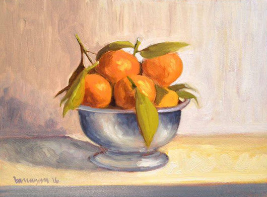 Bowl of Mandarines Still Life Oil Painting on Canvas Board (2016) Oil painting by Caridad I. Barragan