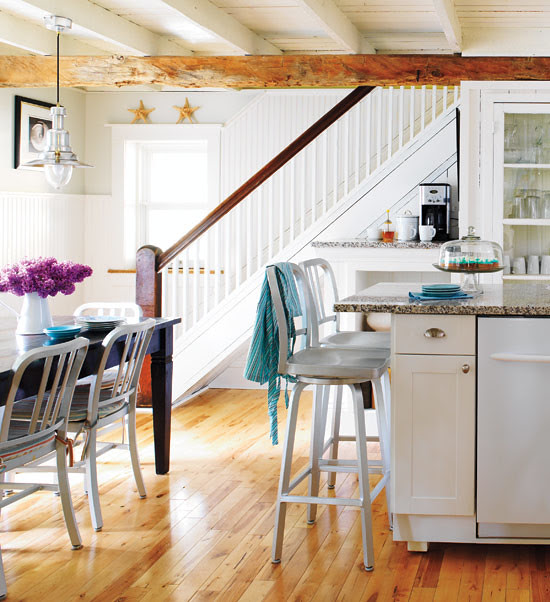 Pop of Color - Renovated Cottage Kitchen via Style at Home - 2