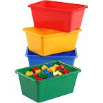 Kids Primary Colors Small Storage Bins, Set of 4 - Tot Tutors, Adult Unisex