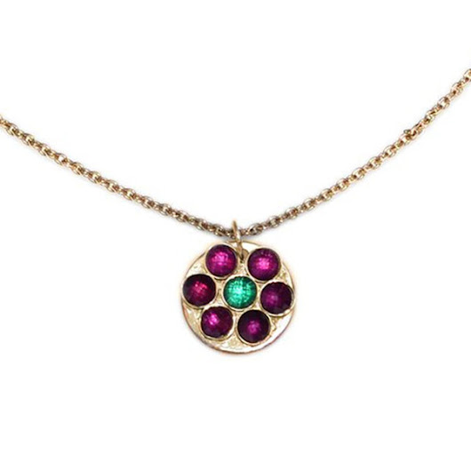 Gold Emerald, Ruby Necklace / modern minimalistic gemstone jewelry - IROOCCA