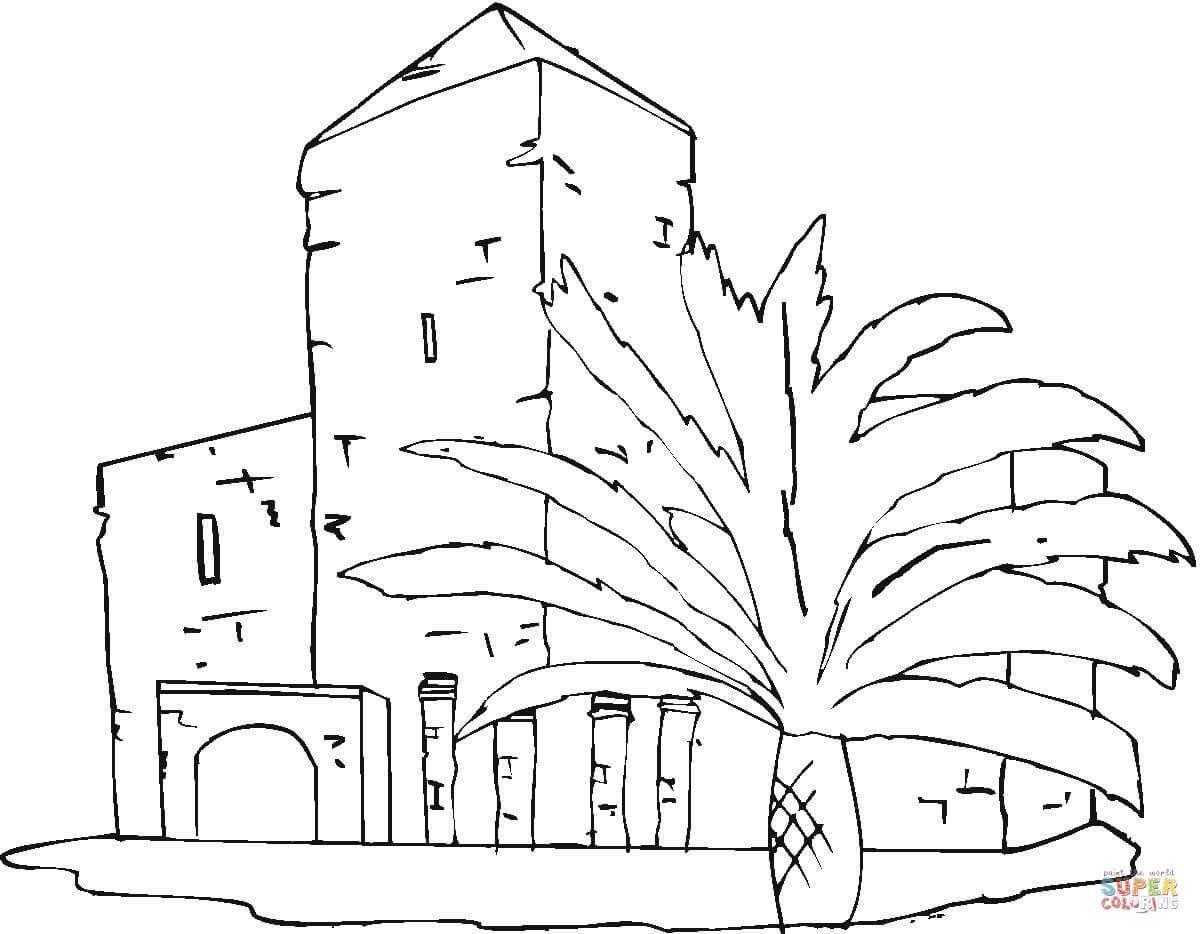Dibujo De Villa Cerca Del Palmar Para Colorear Dibujos Para