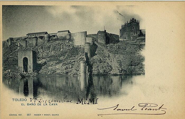 Baño de la Cava (Toledo) a principios del siglo XX. Foto Cánovas