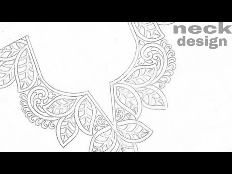 Latest kurti neck design, Embroidery neck design, how to draw neck design,