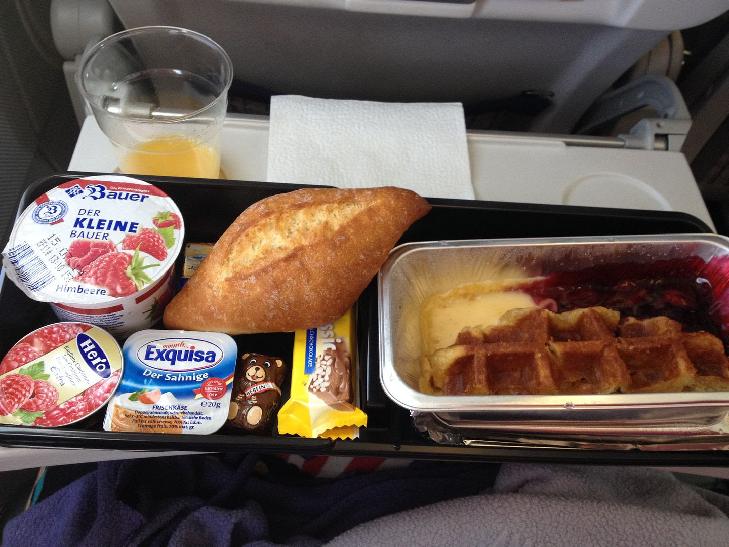 Lufthansa Breakfast with Cherries and Cream Waffles photo 2014-07-05071626_zps3eac0f8c.jpg