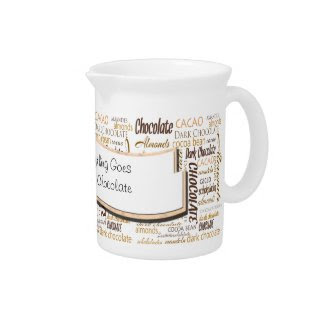 Chocolate, Almonds and Dark Chocolate Word Cloud Beverage Pitchers