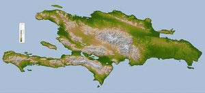 Topography map of Hispaniola.
