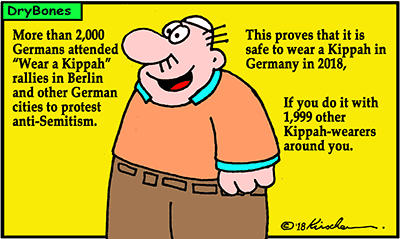Dry Bones cartoon, Israel, Germany, antisemitism, kippah, Jews, Islamism, attacks, terror, demonstration,