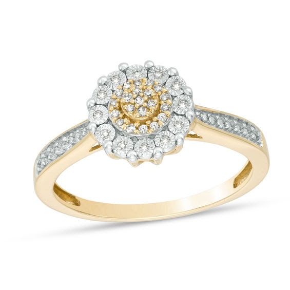 110 Ct Tw Diamond Flower Frame Ring In 10k Gold Ladies Rings