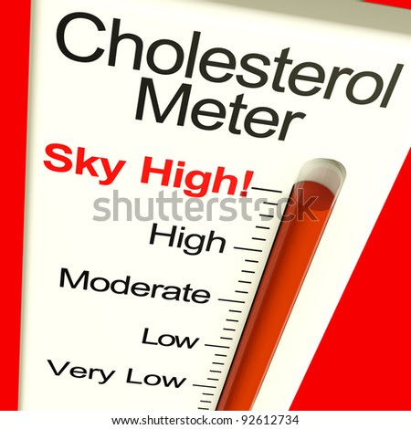 Cholesterol Meter High Showing Unhealthy Fatty Diets - stock photo