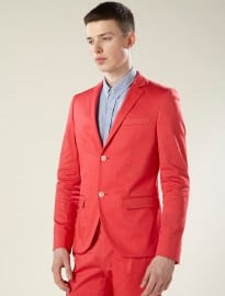 Topman Hot Coral Skinny Suit Jacket