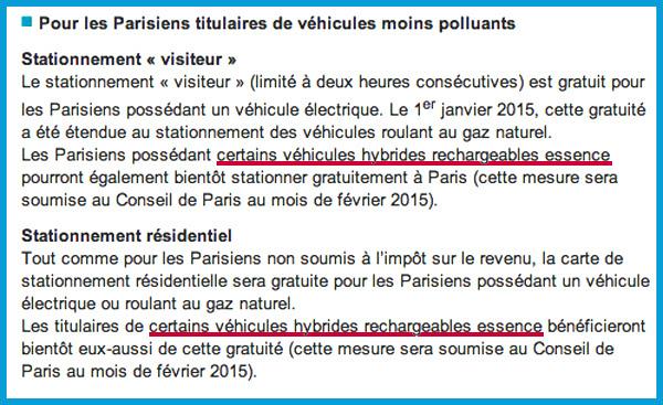 Stationnement Gratuit à Paris Pour Les Hybrides Rechargeables