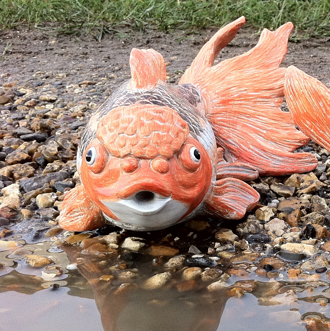 GARDEN POND LARGE FISH INDOOR OUTDOOR RESIN ORNAMENT ...