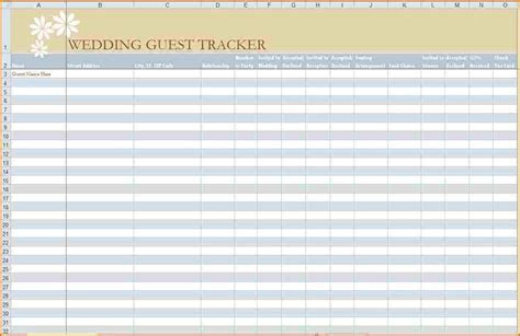 6  wedding guest list printable   Authorizationletters.org