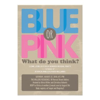 Blue or Pink Baby Gender Reveal Party Invitation