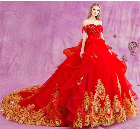 2017 Red Gold Appliques Ball Gown Wedding Dresses Off the