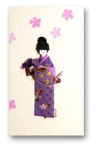 Greetings card Handmade   Mother Rocking baby Yuzen Washi