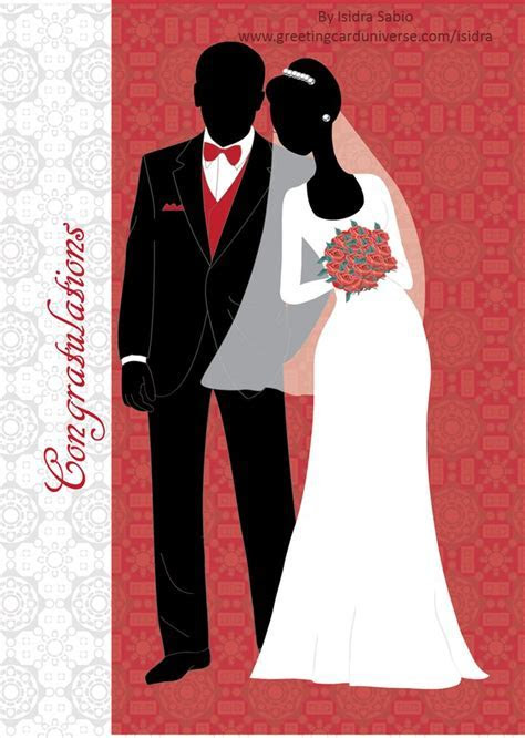 Congratulations  Couple on wedding day card   Blackest