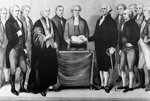 George Washington, depicted here taking the oath of office in 1789, was the first president of the United States. Fact, opinion or both?