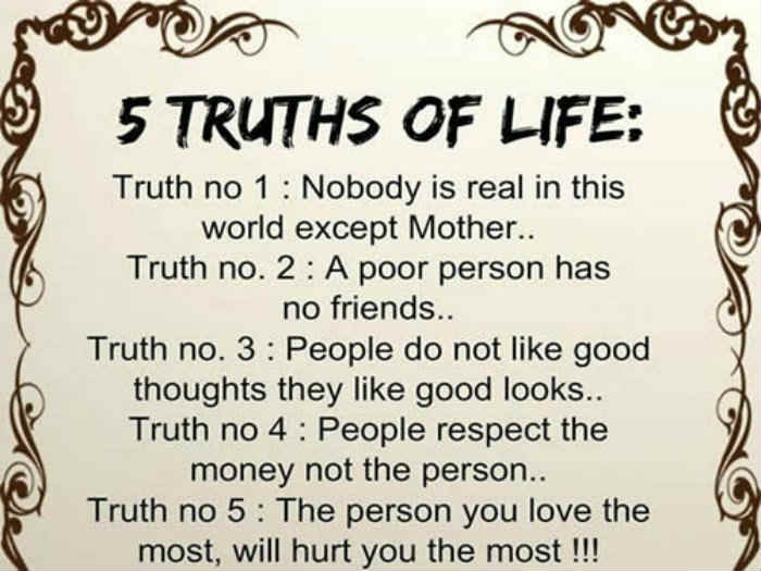 5 Truths Of Life Inspirational Quotes Pictures Motivational
