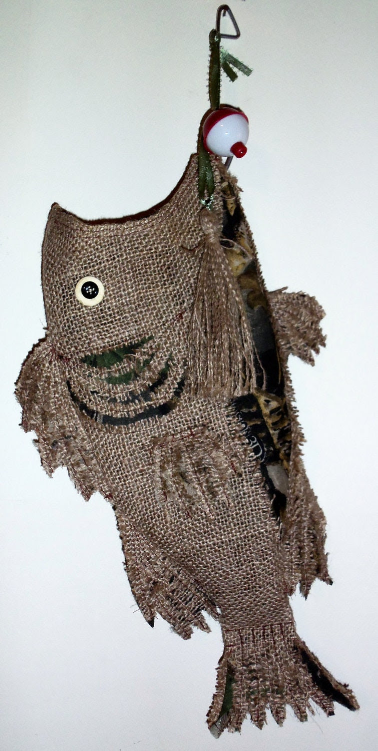Burlap Christmas Stocking Fish Camo by SouthernComfortable on Etsy