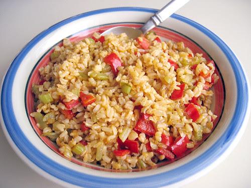 Cajun-style brown rice