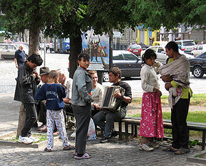 Gypsi people in Lviv, Ukraine
