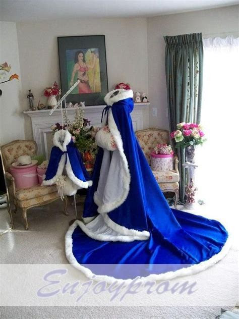 Royal Blue Winter Bridal Cloak Long Girls Cape Tippet