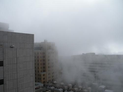 Cotton Bowl through the fog)