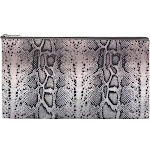 Zodaca Pencil Stationery Case Toiletry Cosmetic Bag Travel Makeup Zip Storage Organizer Bag - Gray Snake Print