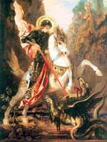 An armoured Saint George on a rearing white horse, using his lance to impale a small, gryphon-like dragon. A princess wearing a crown is faintly visible in the background