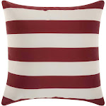 Mina Victory Stripes Red/White Outdoor Throw Pillow
