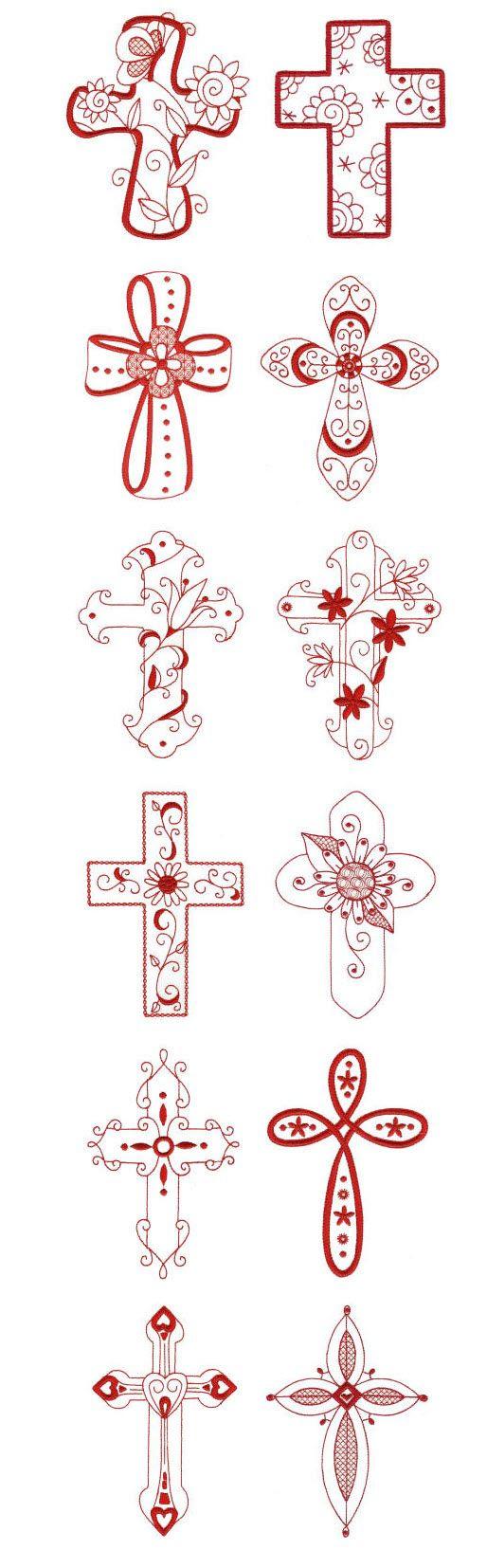 redwork crosses