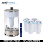 Zerowater 40-Cup Glass Dispenser & 4 Replacement Filter Combo