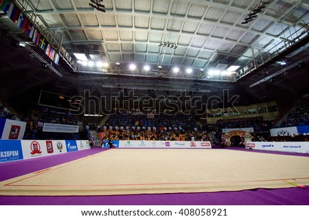 Interrior of sport arena Druzhba just before Rhythmic gymnastics Alina Cup Grand Prix
