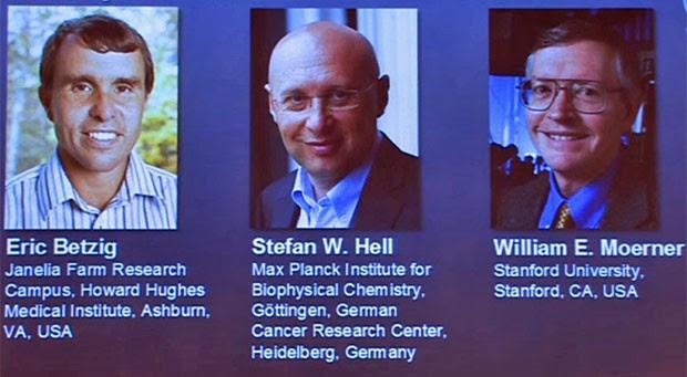 Ganhadores do Nobel de Qímica de 2014 (Foto: Reprodução/Real Academia de Ciências da Suécia)