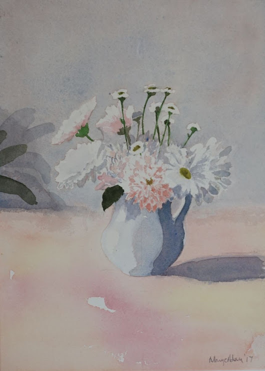 Pink and grey still life (2107) Watercolor by Mary Adam