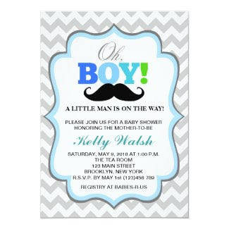 "Oh Boy Mustache Baby Shower Invitations Chevron 5"" X 7"" Invitation Card"