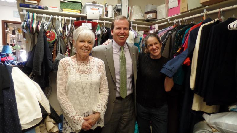 From left to right: Charlene Manning, Thrift Shop Manager, Norfolk County Register of Deeds, Bill O'Donnell and Food Pantry Manager Pam Harty.