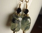 14K Gold Prehnite & Jet Crystal Earrings